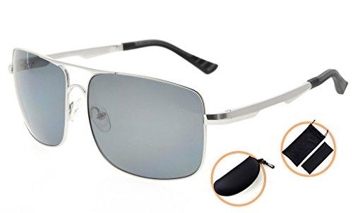 Eyekepper Lunettes de soleil Polycarbonate verres Polarisees lunettes soleil pour hommes argentee/gris verre