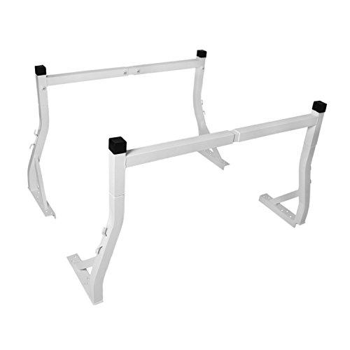 AA-Racks Model AX25 Extendable Aluminum Pick-Up Truck Ladder Rack White