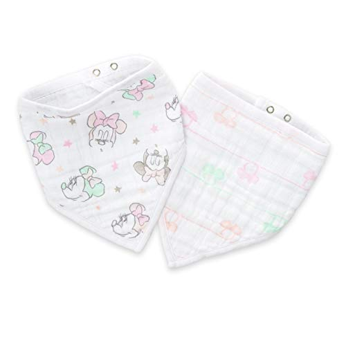 aden by aden + anais Disney Bandana Bib; 100% Cotton Muslin; Soft Absorbent 3 Layers; Adjustable; 8.5'' X 16''; 2 Pack; minnie bubble ()