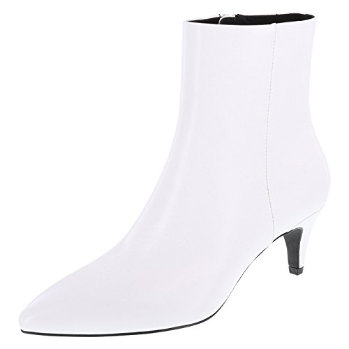 Christian Siriano for Payless Women's Smooth White Veronica Kitten-Heel Boots 5 Regular (Kitten White Heels)