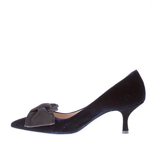 Bow Blue Pump Toe Grain Women Velvet gros with Pointed Shoes Blue Prada SvEqan