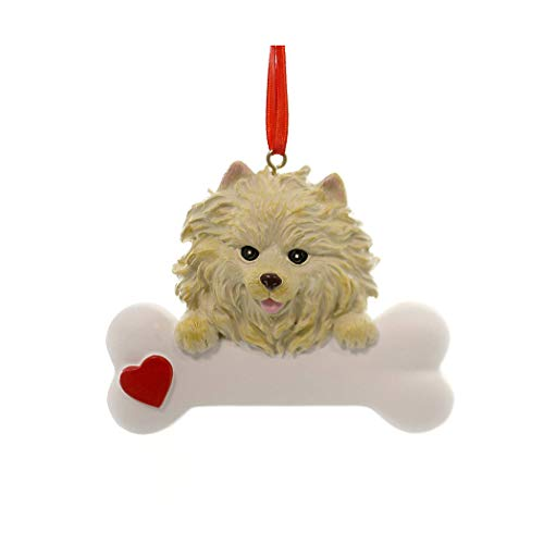 Personalized Pomeranian Christmas Tree Ornament 2019 - Fluffy Dog Big Heart Paw Pure Love Long Hair Tiny Foxy-Faced Compact Active Fur-Ever New Loyal Family R.i.p. Tan Yellow - Free Customization
