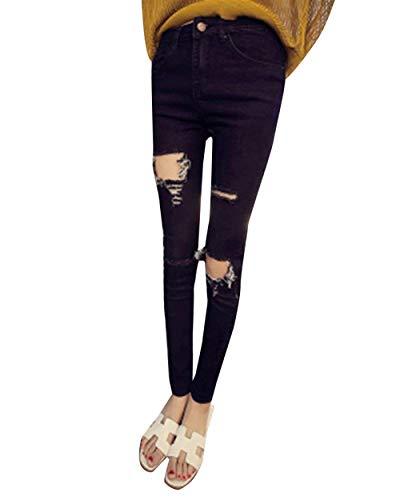 Skinny A Strappati Schwarz Da Fashion Vita Pantaloni Hx Chic Al Ginocchio Donna Jeans qTfA4wE