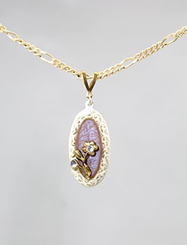 Light Purple and White Oval Flower Art Gold - Tone Pendant Necklace, 18