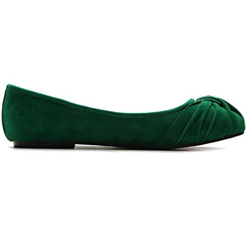 Ollio Women's Ballet shoe Low Heel Comfort Faux Suede Multi Color Flat (8.5 B(M) US, Green)