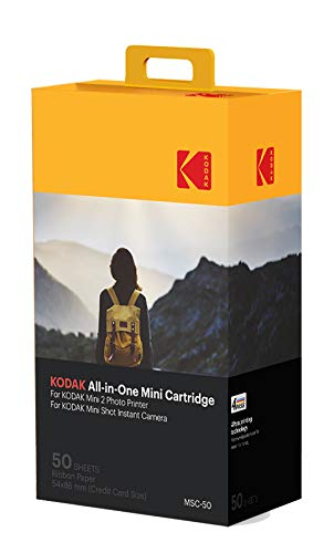 Kodak Mini 2 Photo Printer Cartridge MC All-in-One Paper and Color Ink Cartridge Refill - Compatible with Mini Shot Camera, Mini 2 Printer (Not Original Mini) 50 Pack