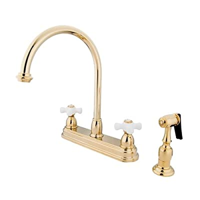 Kingston Brass KB375.PXBS Restoration Centerset Kitchen Faucet with Porcelain Cr,