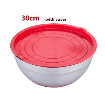 SUVERAAN Mixing Bowl Stainless steel Basin Round Silicone Basin w/Cover Kitchen Home Thickening Deepening Salad oil Baking Egg Bowl