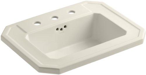 "KOHLER K-2325-8-47 Kathryn Self-Rimming Bathroom Sink with 8"" Centers, Almond"