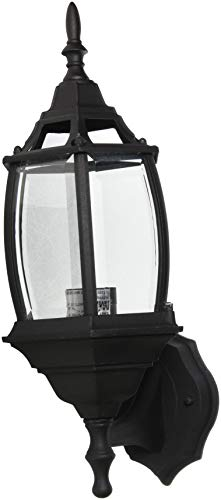Sunset Lighting F7813-31 Outdoor Wall Sconce with Clear Beveled Glass, Black Finish