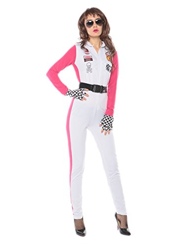 Women Racer Costume - Women White Race Girls Car Speed Halloween Costume