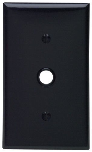 Gang 1 Telephone Leviton (Leviton 80718-E 1-Gang 0.406 Inch Hole Device Telephone/Cable Wallplate, Standard Size, Thermoplastic Nylon, Strap Mount, Black)