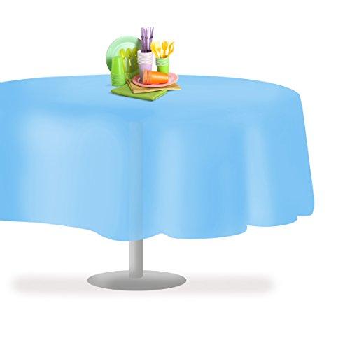 (Sky Blue 6 Pack Premium Disposable Plastic Tablecloth 84