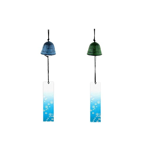 Homyl 2pcs Temple Bell Japanese Wind Chime Hang Sound Clapper Home Garden Decor