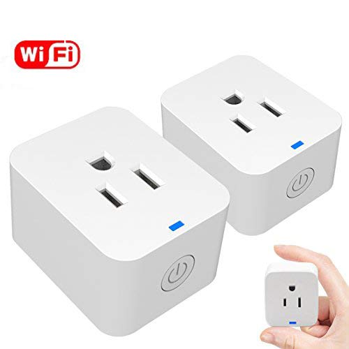 WiFi Smart Plug, Mini Wireless Smart Outlet, Compatible with Amazon Alexa & Google Assistant, No Hub Required Smart Socket, Timing Function, Remote Control Your Devices Anywhere, 2 Pack