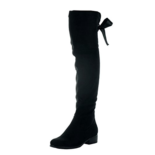 Block lace 5 Black Heel Cavalier Shoes Angkorly Satin Boot Fashion Women's Soft cm Thigh high 3 AAqxw8zO1