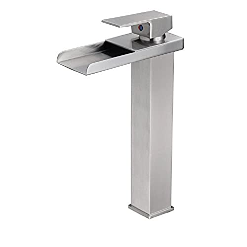 BWE Tall Nickel Brushed Waterfall Bathroom Sink Vessel Faucet Open Channel  Basin Mixer Tap Long Bath Spout