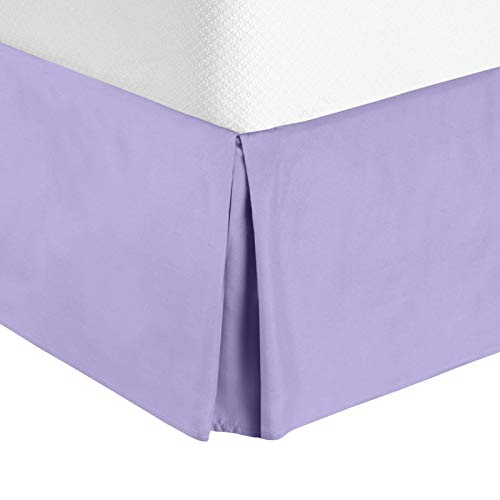 Nestl Bedding Double Brushed Microfiber Dust Ruffle, 14-Inch Tailored Drop Pleated Twin Bed-Skirt, Lavender