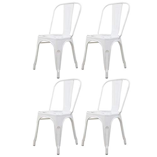 Nicemoods Dining Chair Metal Stackable Indoor-Outdoor High Back Kitchen Cafe Side Chairs Set of 4 (White) (Metal Dining Sale Chairs For)