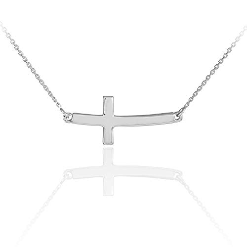 Dainty 14k White Gold Cute Curved Sideways Cross Necklace (16) ()