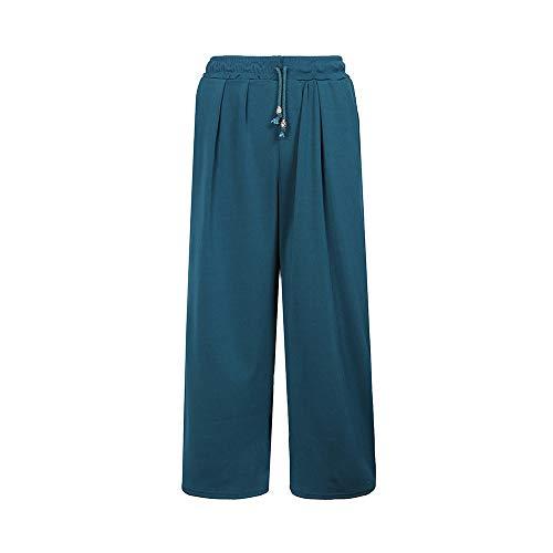 Pantaloni Forti Larghi Donna Unita Elastico Zhrui Taglie Tinta Vita in Verde Bw4xT