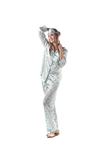 (momomio Womens Silk Satin Pajamas Floral Print Long Sleeve Button Down Pajama Set Loungewear Sleepwear Gift Eye Mask Included (XL, Peacock))