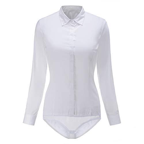 Dress Shirt Bodysuit (Classic Bodysuit Blouse One-Piece Leotards for Women Winter Y&Z YZ56 (L,)