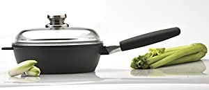 "Eurocast Professional Cookware 10.25"" Deep Saute Pan with Glass Lid and Removable Handle"