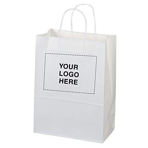 Promotional Shopper - White Paper Shopper Bag-Jenny by Promo Direct | 150 Qty | 2.19 Each | Customization Product Imprinted & Personalized Bulk with Your Custom Logo
