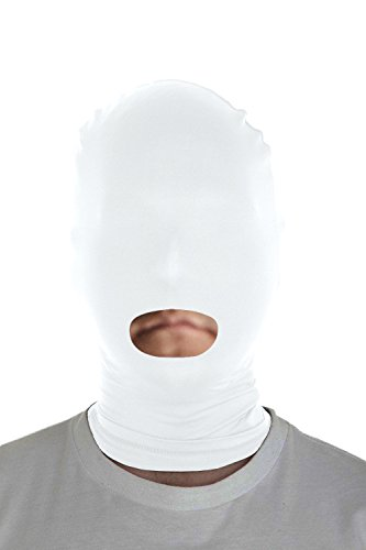 [Marvoll Lycra Spandex Mouth Hole Zentai Mask Hoods Halloween Costumes (Adults, White)] (Halloween Costume Ideas Unique Funny)