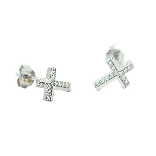 cheap Paialco 925 Sterling Silver Cross Earring Studs Cubic Zirconia Inlay, White Rhodium Plating for cheap