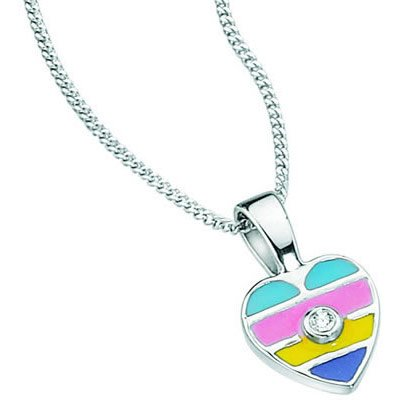 I1 clarity and I-J color Diamond Heart Enamel Childrens Pendant in 14K White Gold 0.01 Cts SI2