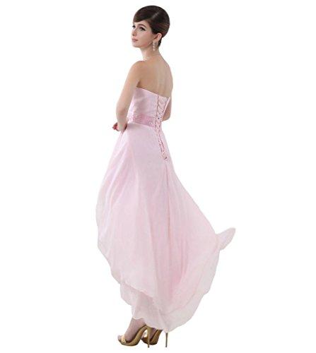 Bustier Courte Devant Longue Dos Robes De Demoiselle D'honneur De Bal De Partie Asymétrique En Mousseline De Soie Rose