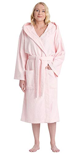 Arus Women's Classic Hooded Bathrobe Turkish Cotton Terry Cloth Robe (L/XL,Pink)