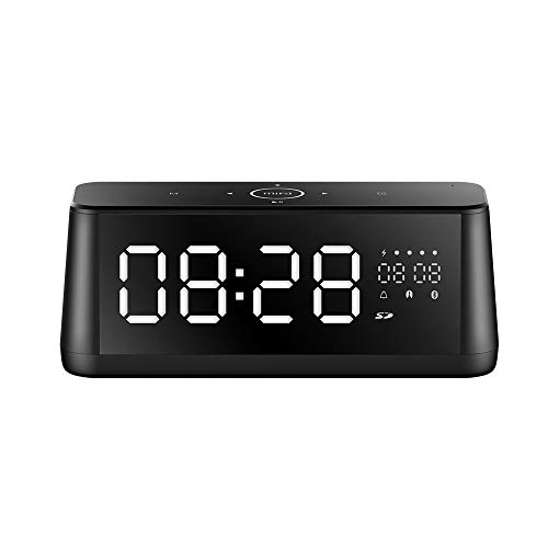 Bluetooth Speakers, MIFA Wireless Stereo Soundbox Bedside Alarm Clock, 30W DSP Sound & Bold Bass, TF Card Slot, Aux Input, Built-in Mic for Hands-Free Calls, Mirror LED Display