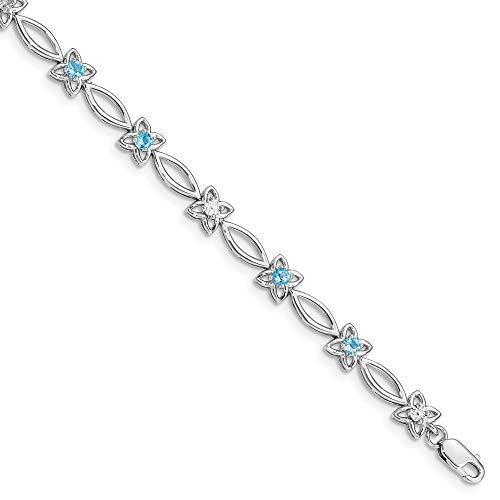 Diamond Wave Beads - 925 Sterling Silver Blue Topaz Diamond Bracelet 7 Inch Flower Gemstone Fine Jewelry Gifts For Women For Her
