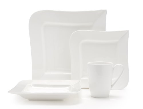 Fortessa Fortaluxe Superwhite Vitrified China Dinnerware, Ojo 16-Piece Place Setting, Service for (Vitrified China Restaurant)