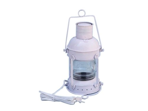 Iron Anchor Electric Lantern 15″ – White – Electric Nautical Lantern – Beach Decor