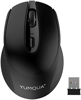 YUMQUA Computer Mouse Wireless, 2.4G Optical Silent Wireless Mouse with USB Nano Receiver, 3 Adjustable DPI, Cordless Mouse for Laptop Desktop PC Desktop, Fits Left & Right Handed Users