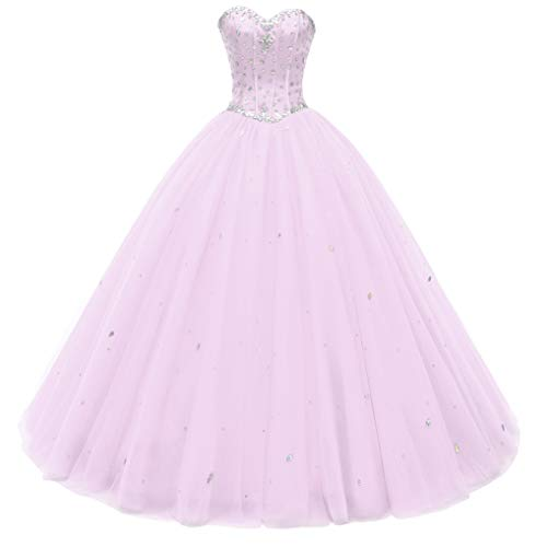 Beautyprom Women's Sweetheart Ball Gown Tulle Quinceanera Dresses Prom Dress Pink US18W ()