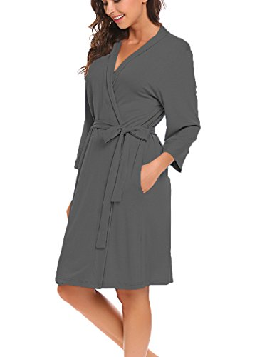 BLUETIME Women Robe Soft Kimono Robes Cotton Bathrobe Sleepwear Loungewear Short (L, Dark Gray)