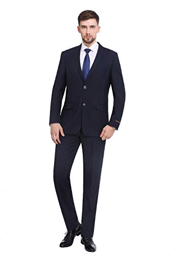 P&L Men's Premium Slim Fit 2-Piece Suit Blazer Jacket & Flat Pants Set Navy