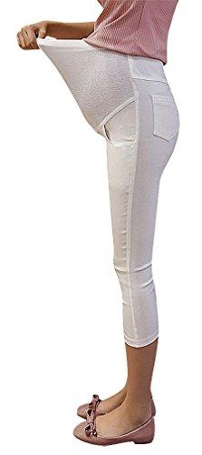 Hibukk Close Fit Stretchy Solid Color Plain Full Panel Maternity Capri Pants, White 4,Manufacturer(L) by Hibukk (Image #2)