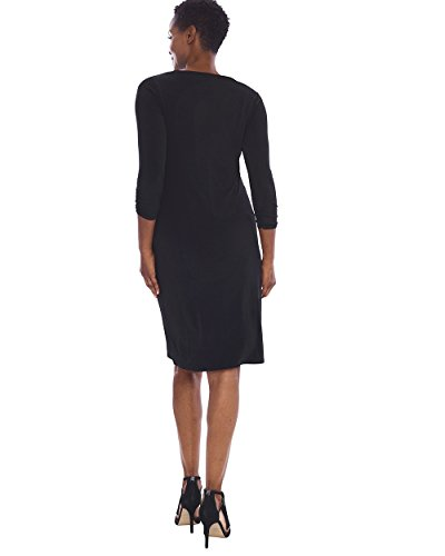 Chico's Black 4 3 Wrinkle Dress Ruched Resistant Women's Sleeve raPqwx4r