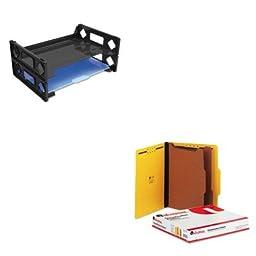 KITUNV08100UNV10304 - Value Kit - Universal Pressboard Classification Folders (UNV10304) and Universal Side Load Letter Desk Tray (UNV08100)
