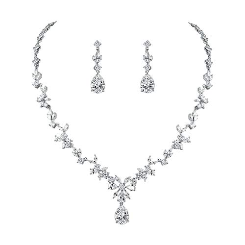 (WeimanJewelry Women Cubic Zirconia Marquise Teardrop Bridal Necklace and Earring Jewelry Set for Wedding (Silver))
