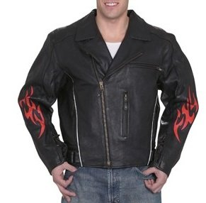 Mens Leather Motorcycle Jackets with Flames & Z/O Lining (Size 2XL, 52) - Flame Motorcycle Jacket