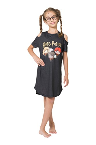 Harry Potter Girls' Little Chibi Art Cold Shoulder Nightgown, Charcoal Gray, 4/5 -