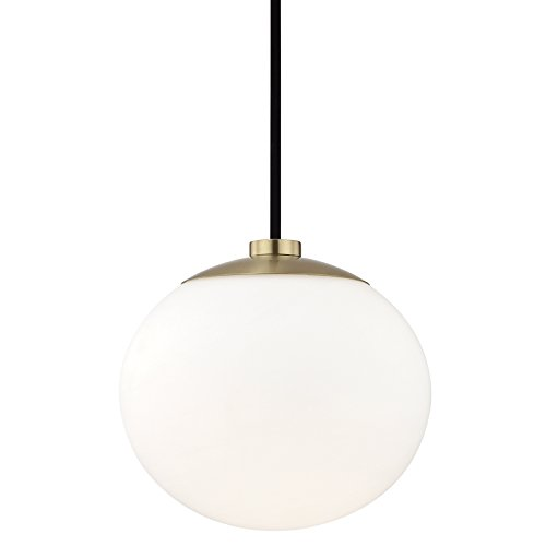 Hudson Valley Lighting H134701-AGB Estee - One Light Pendant, Aged Brass Finish with White Opal Glass
