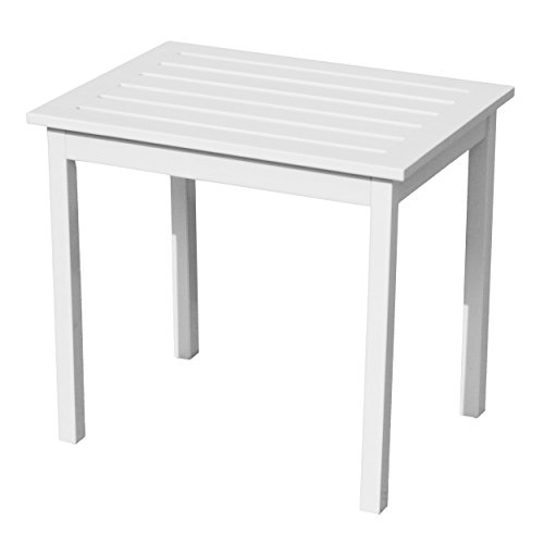 Hardwood Side End Table - Weather Resistant Wood - White Finish ()